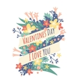 Vintage Valentine Day decoration flowers vector image