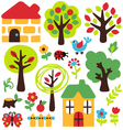 cartoon garden and animal icon vector image vector image