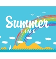summer time and seascape with mountains vector image vector image