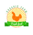 fresh food logo with chicken label with grunge vector image