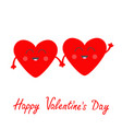 red heart family couple set face head holding vector image