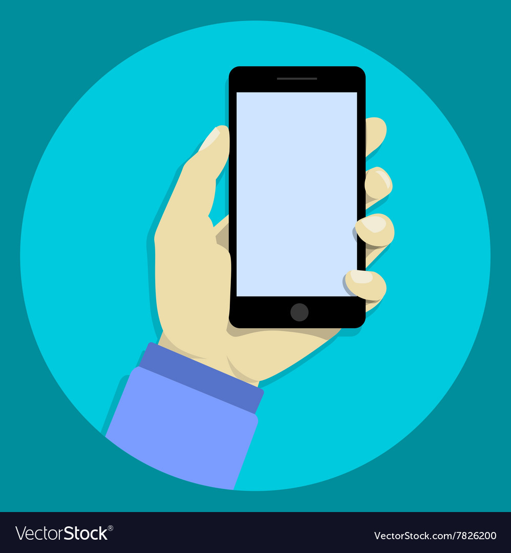 Hand holdng black smartphone touching blank vector