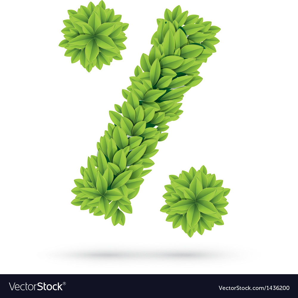 Percent sign of green spring leafs vector