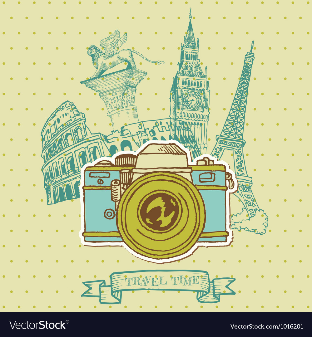 Lovely card  vintage camera vector