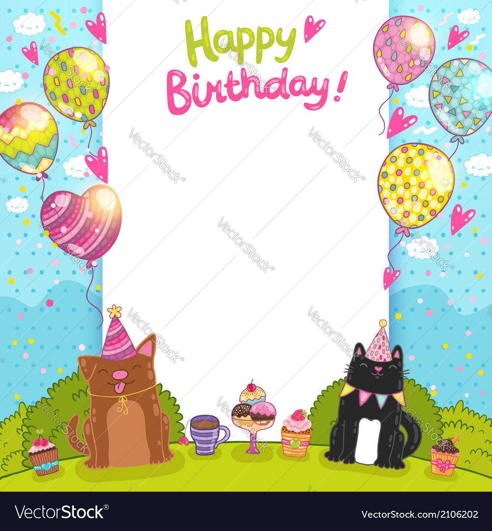 Happy birthday background with a cat dog vector