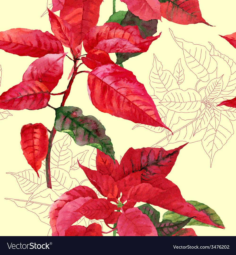 Seamless pattern with poinsettia plant04 vector