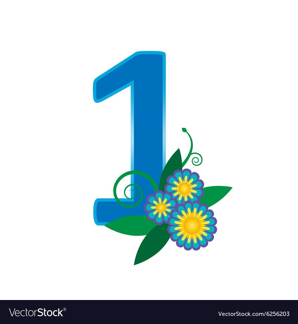 Number one with floral vector