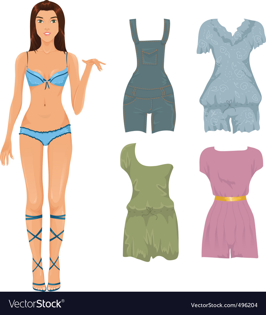 Set of female jumpsuits vector