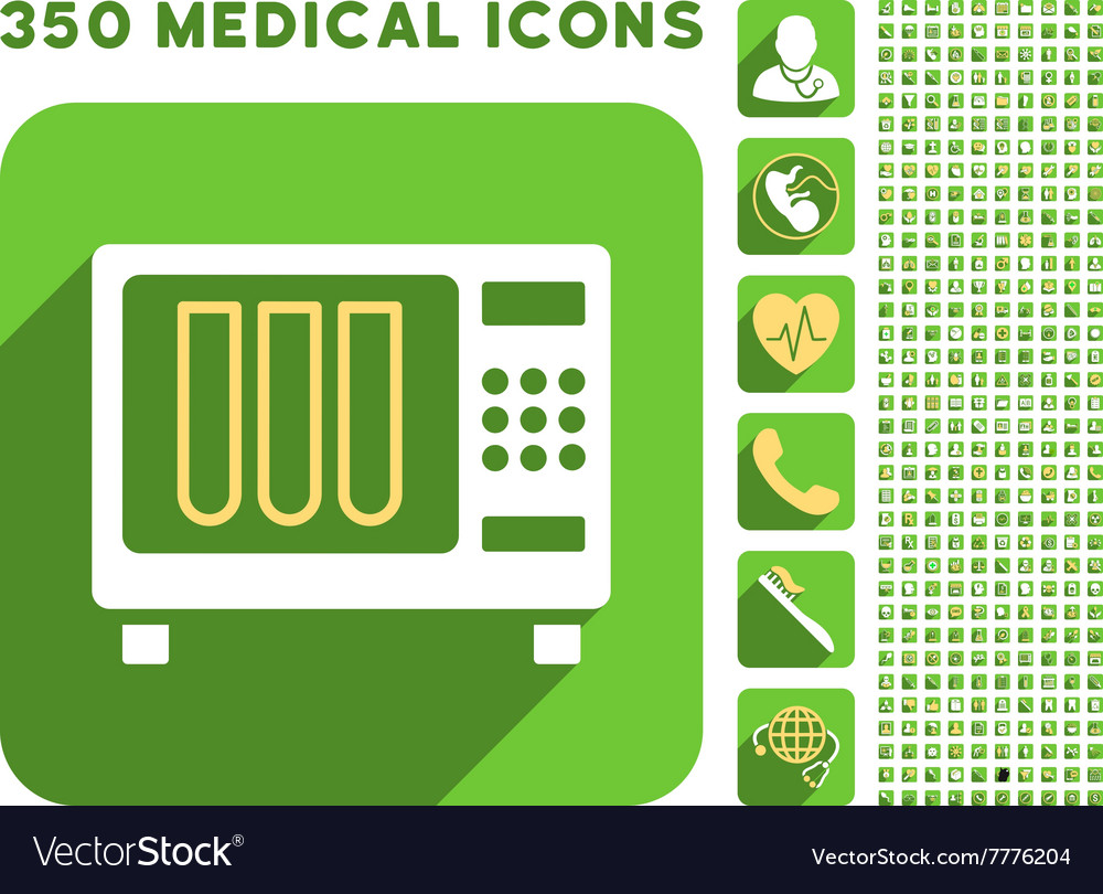 Sterilizer icon and medical longshadow icon set vector