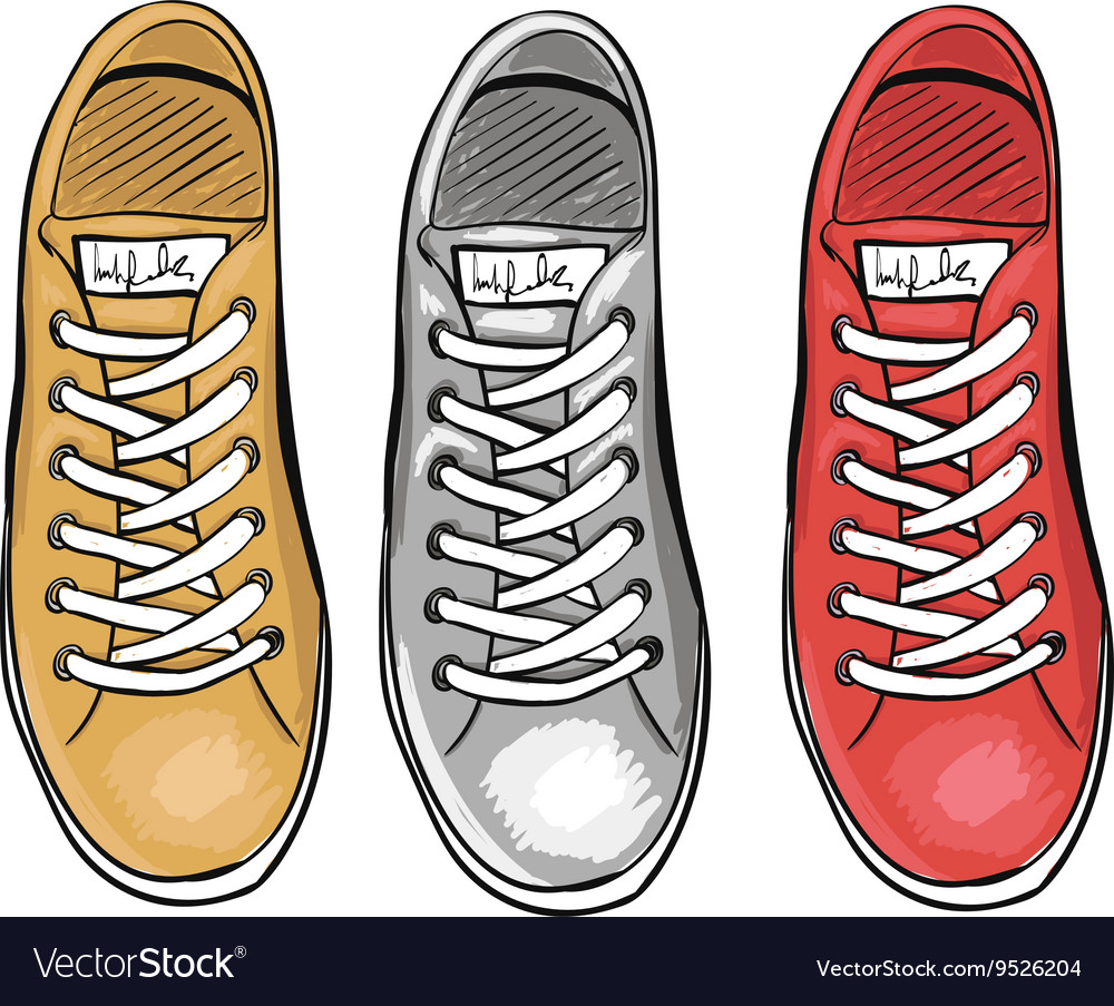 Summer trendy sports shoes the collection of vector