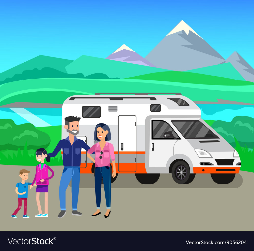 Travel van flat icon with long shadows vector
