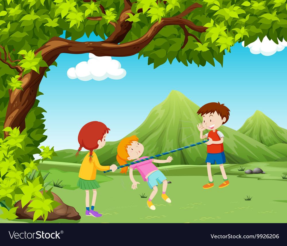 Children playing music bar in the park vector