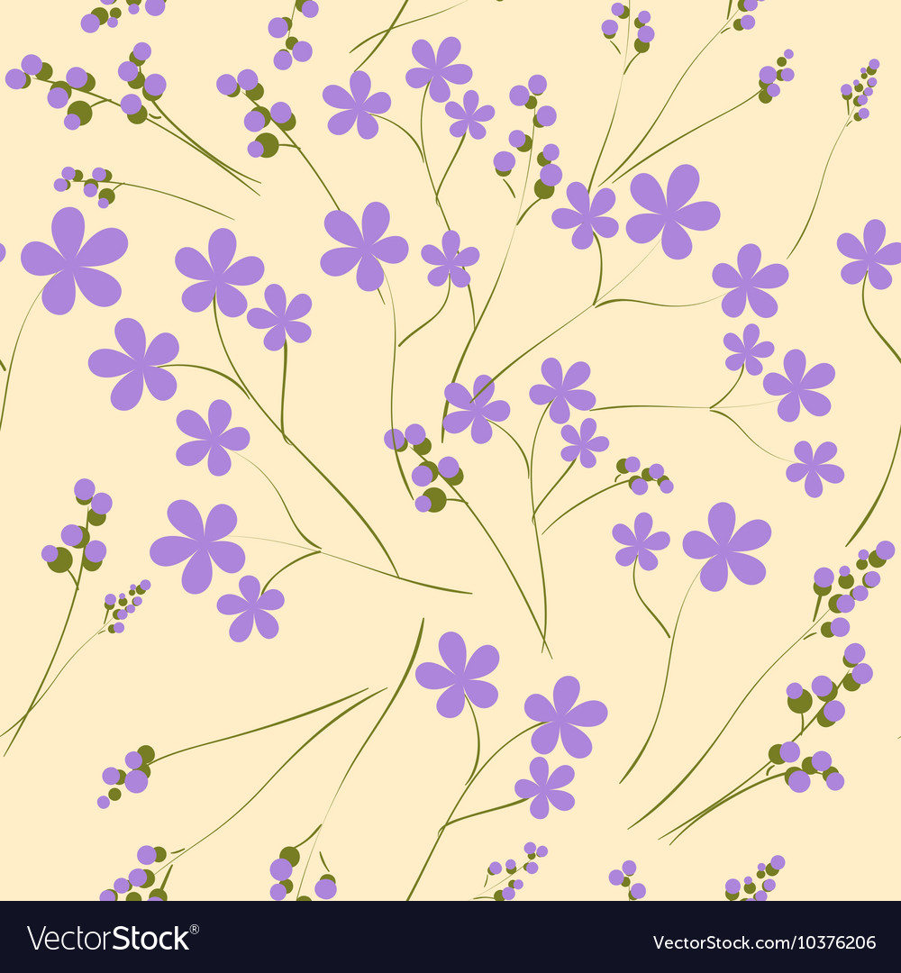 Seamless pattern with purple spring flowers it can vector