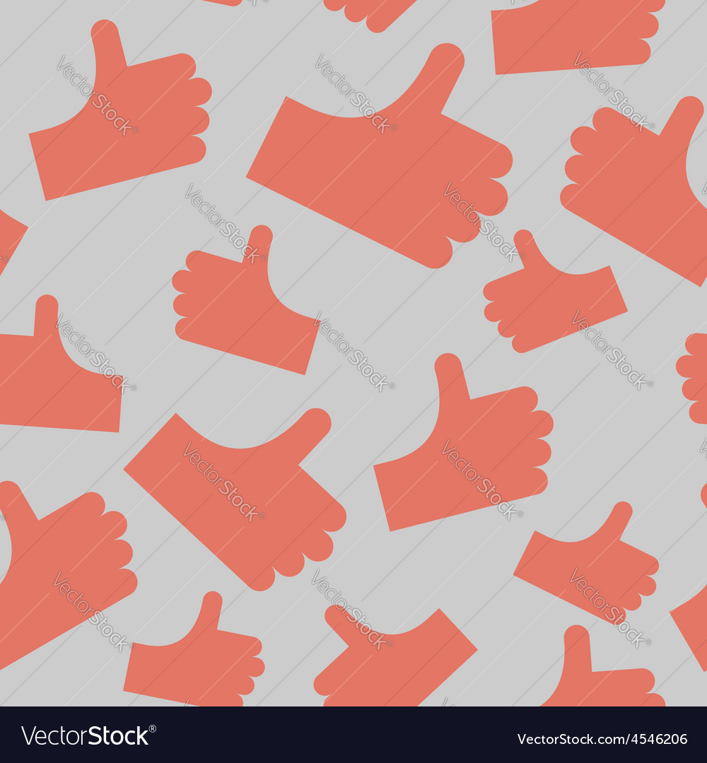 Thumbs up seamless pattern background hands vector