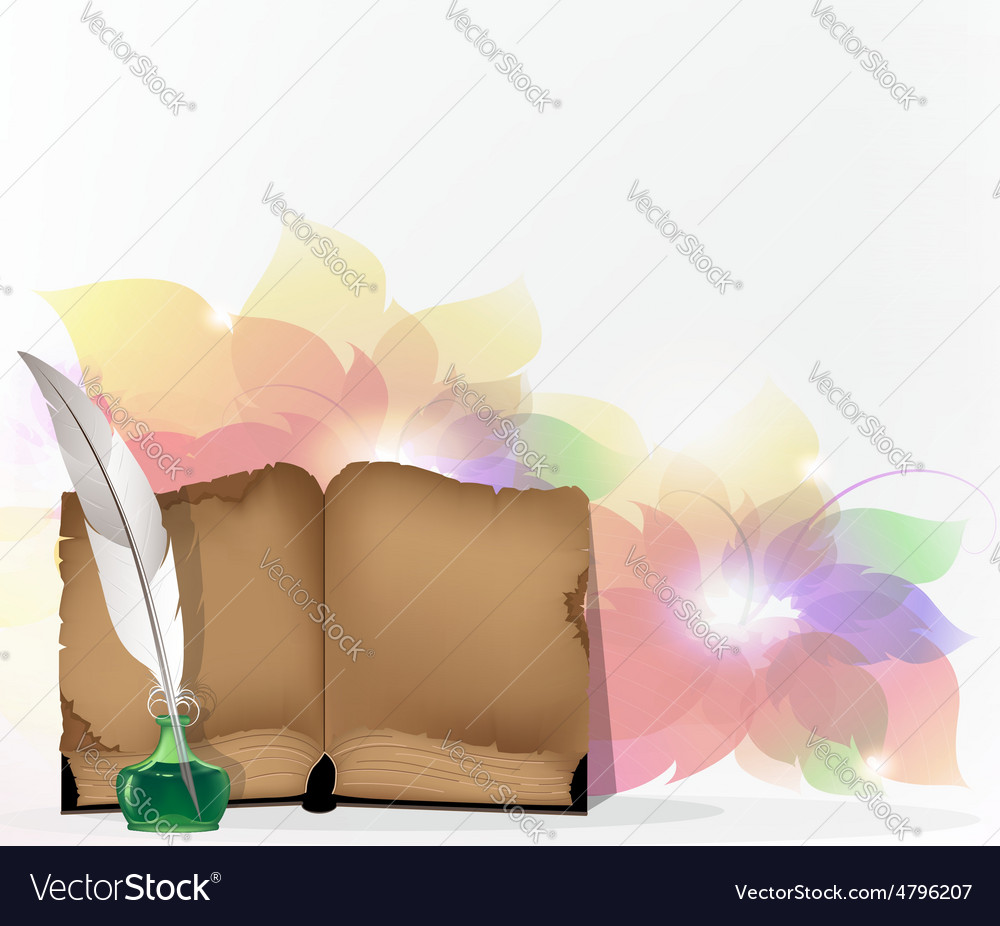 Book and feather on floral background vector