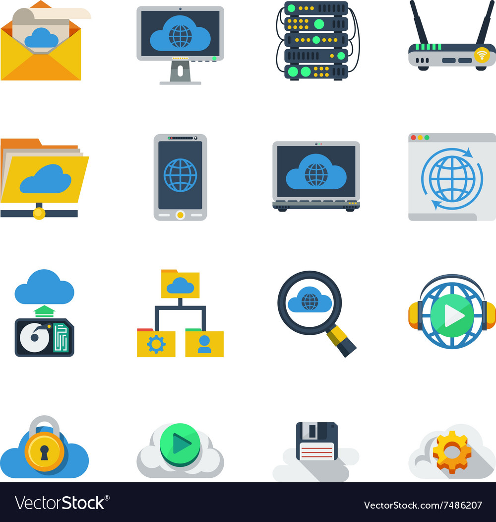 Cloud service flat color icons vector