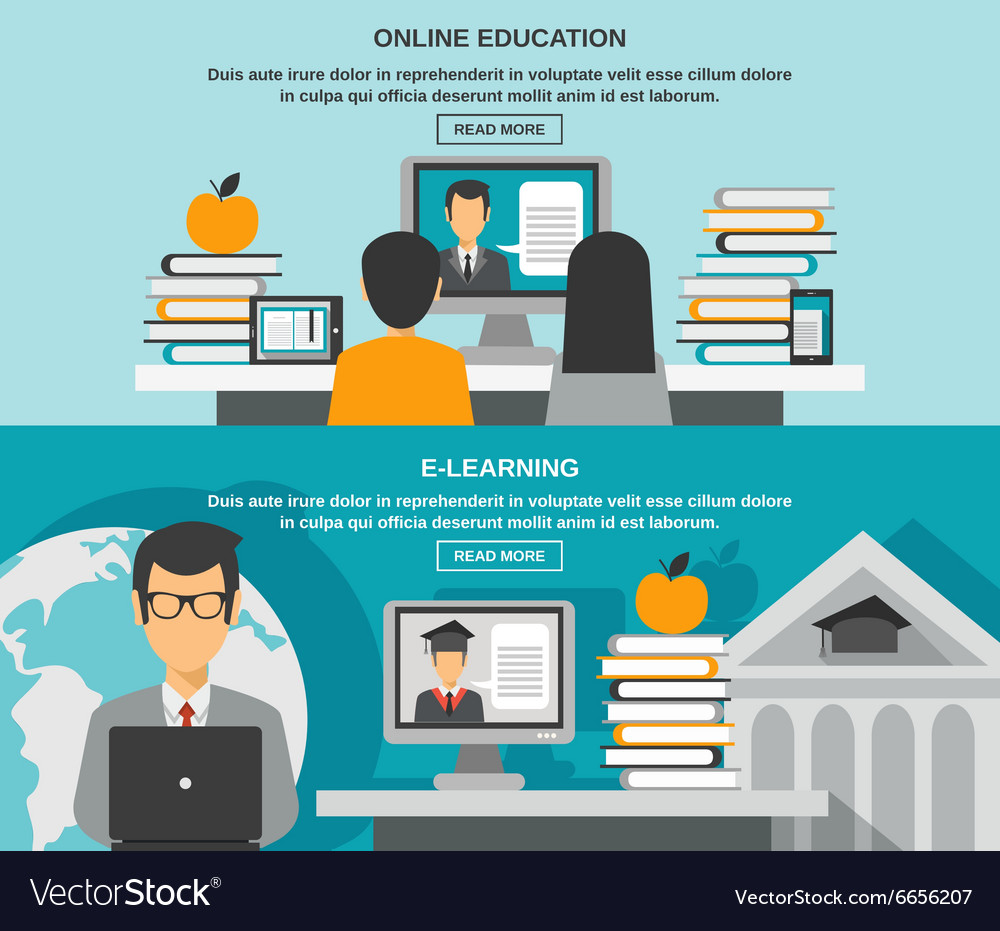 Elearning banner set vector