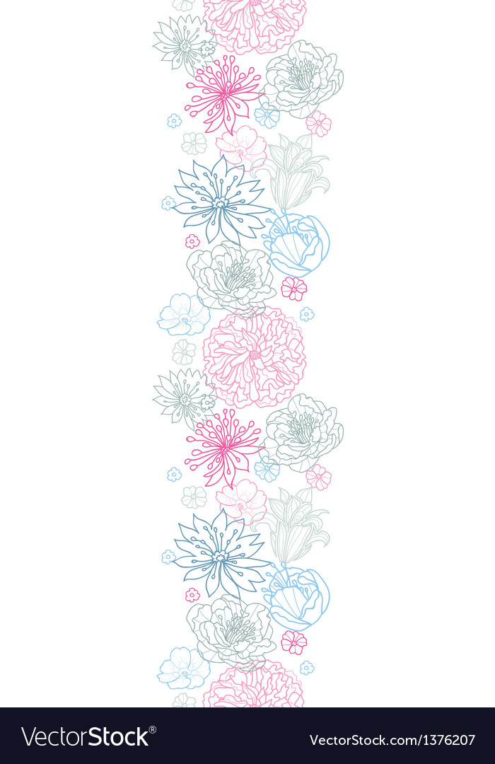 Gray and pink lineart florals vertical seamless vector