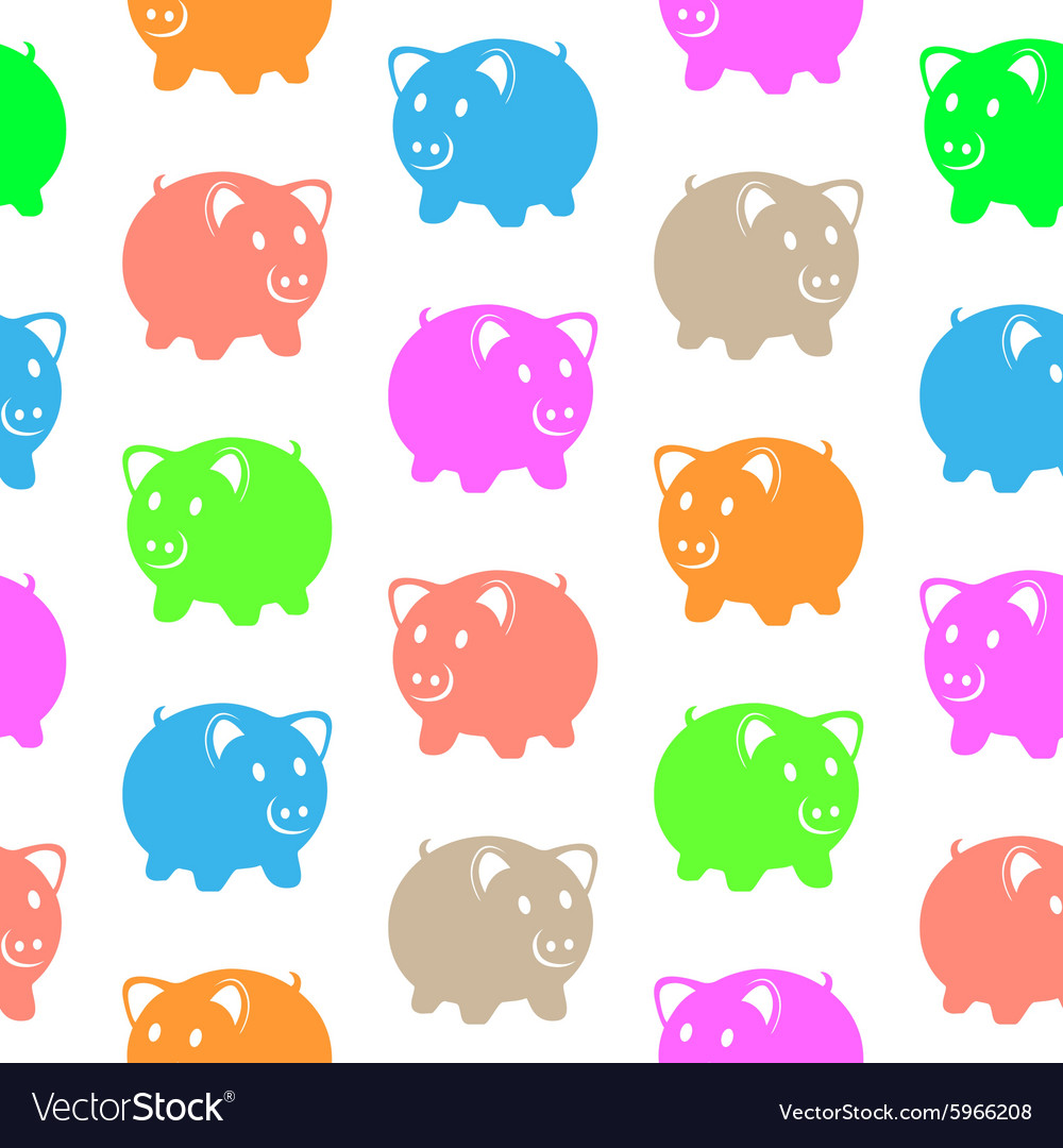 Seamless pattern with colorful pigs vector