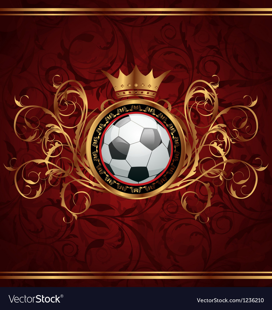 Football background with a gold crown vector