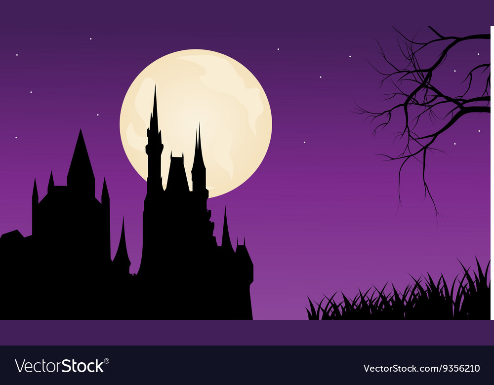 Silhouette of castle and full moon vector