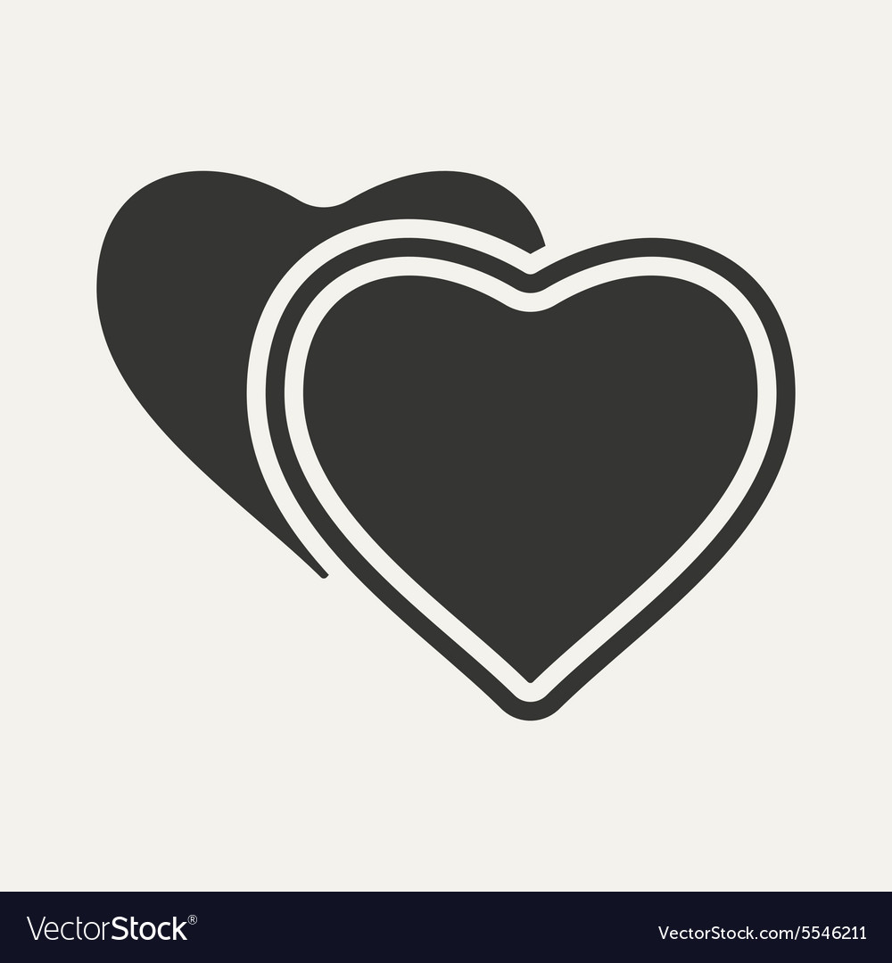 Flat in black and white mobile application hearts vector