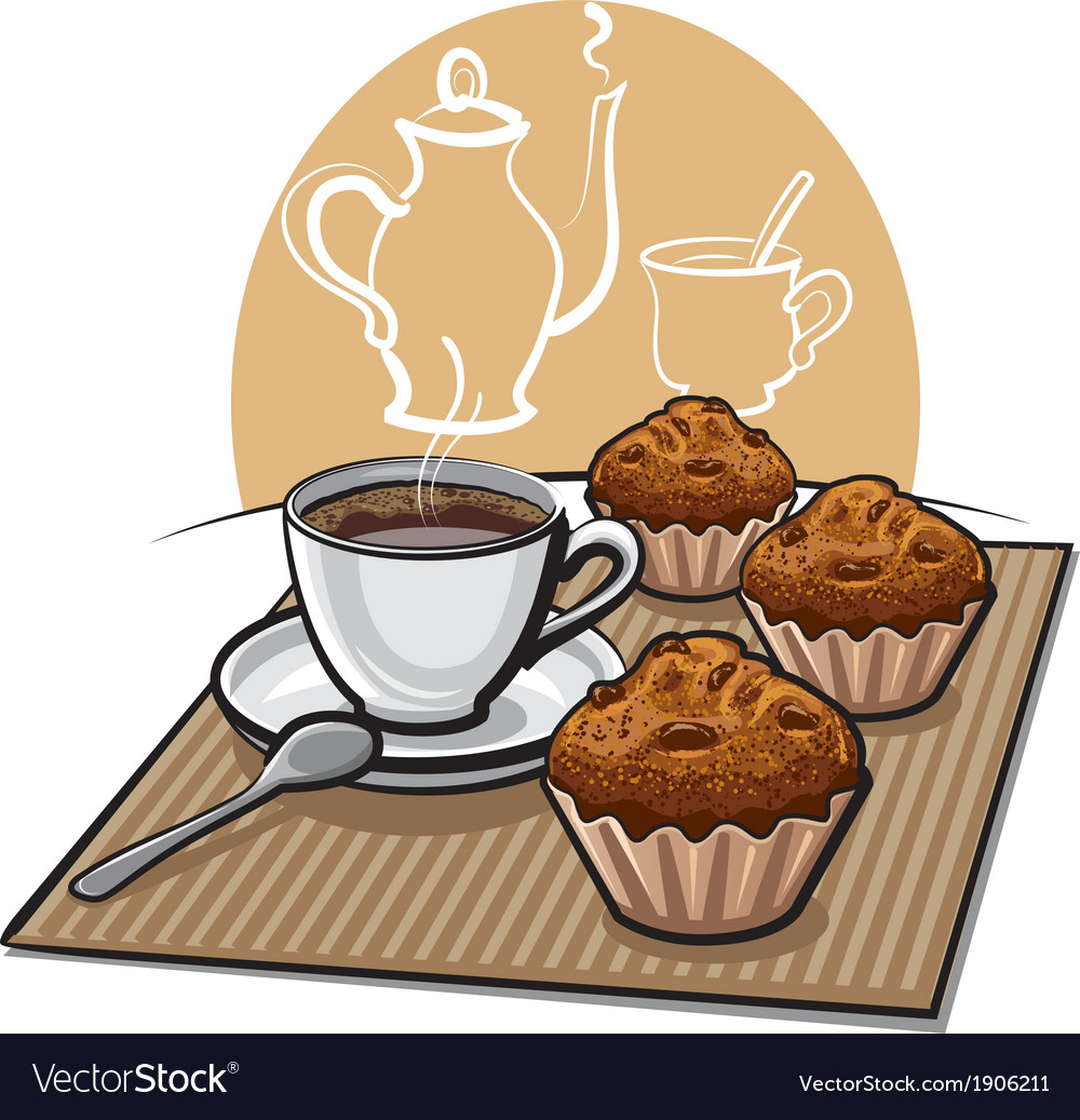 Muffin and coffeee vector