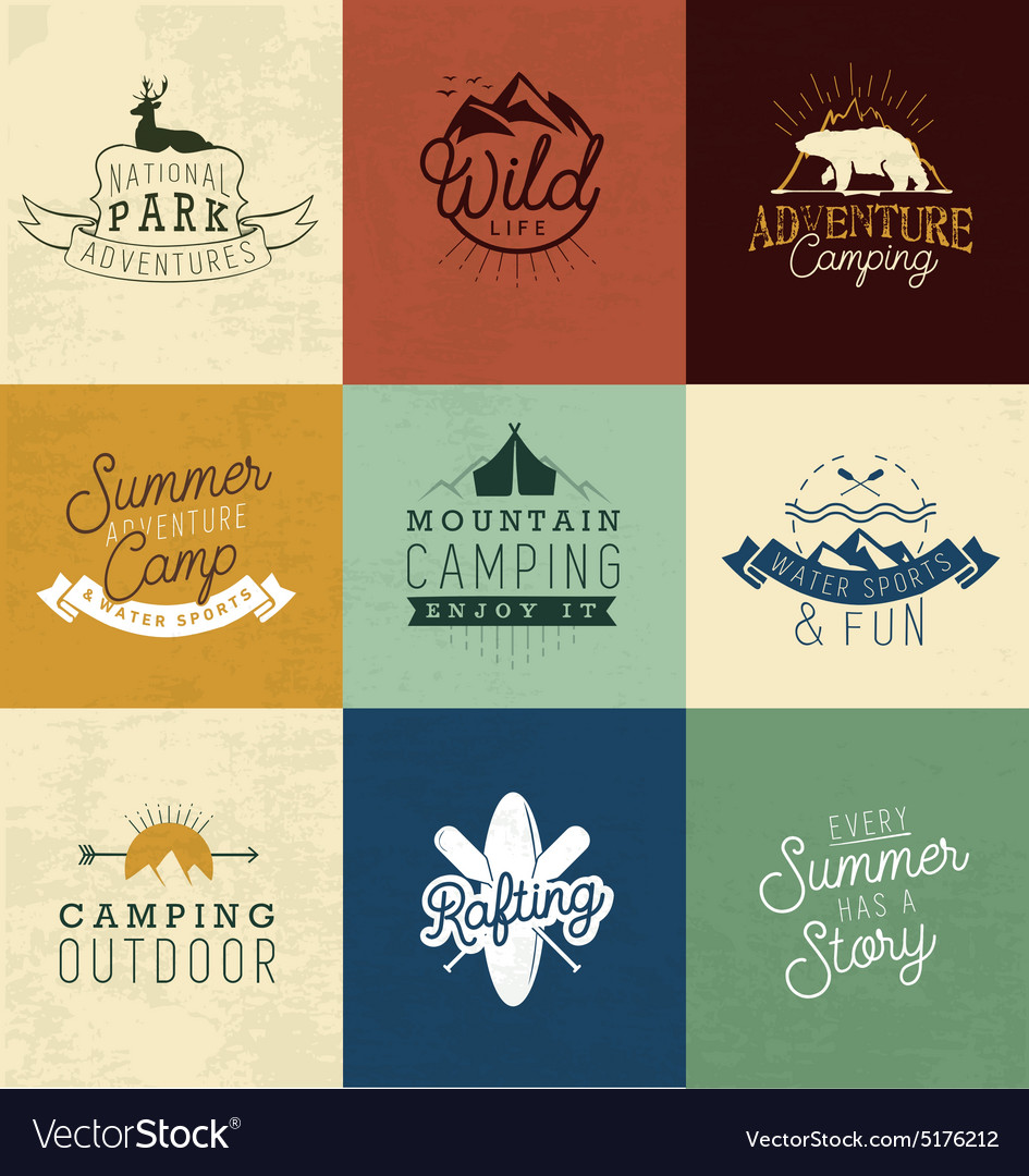 Camping design elements badges and labels vector