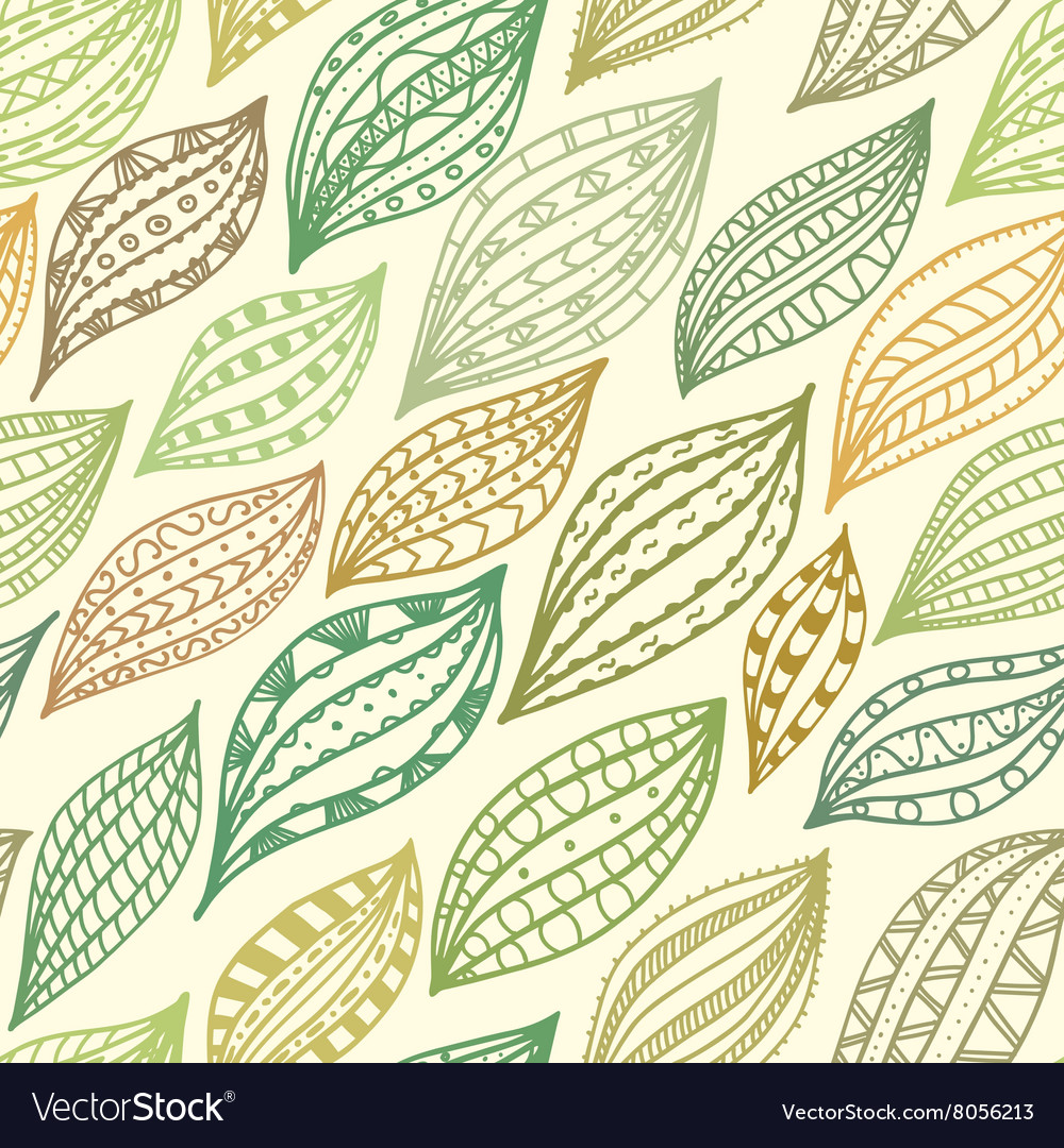 Seamless pattern with abstract freehand ornament vector