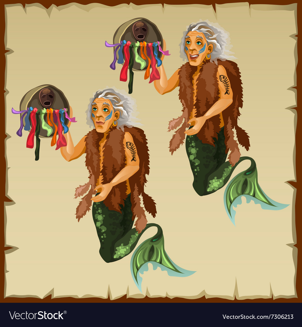 Two character fish men with tail and deity vector