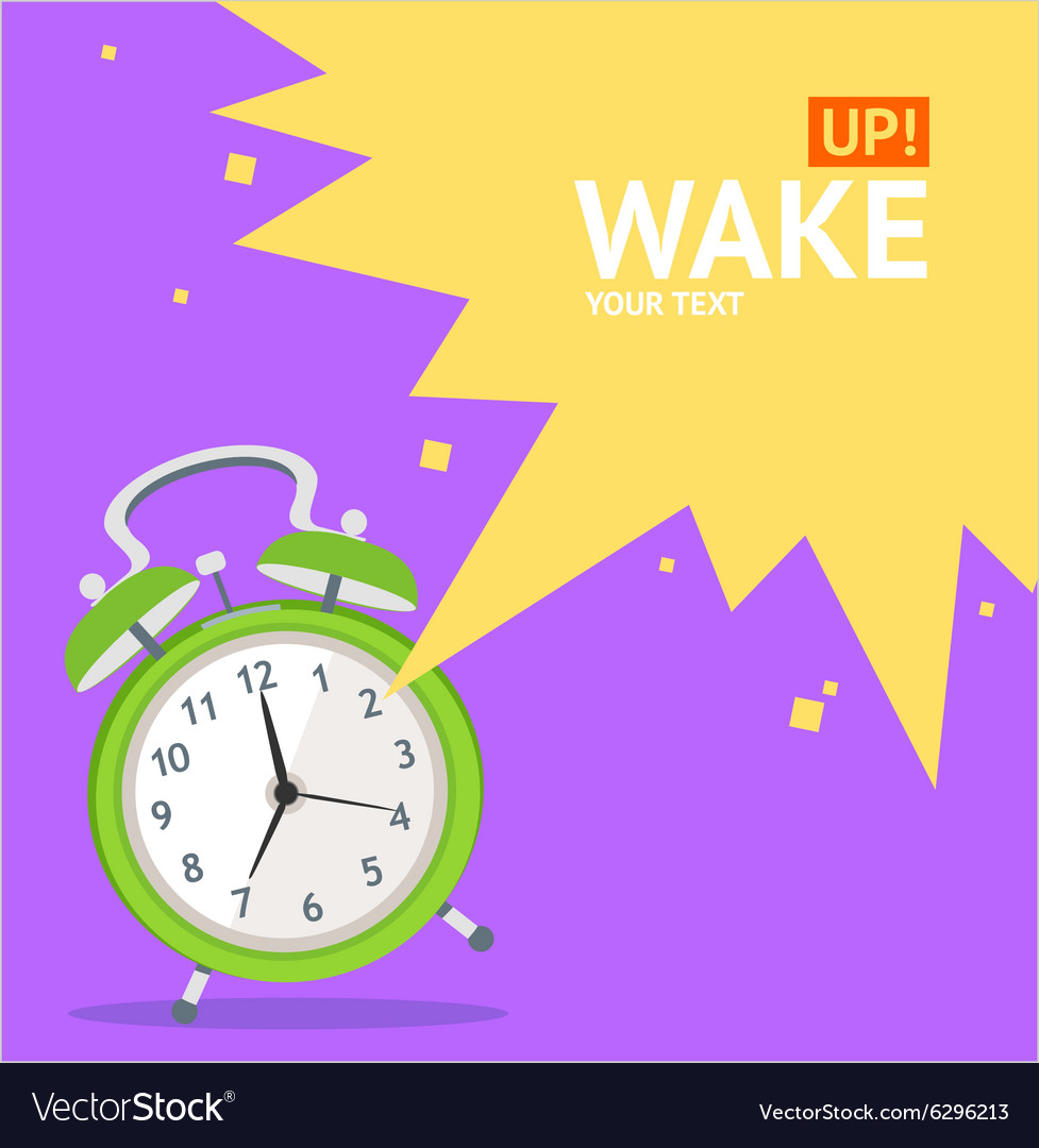 Wake up clock concept card vector