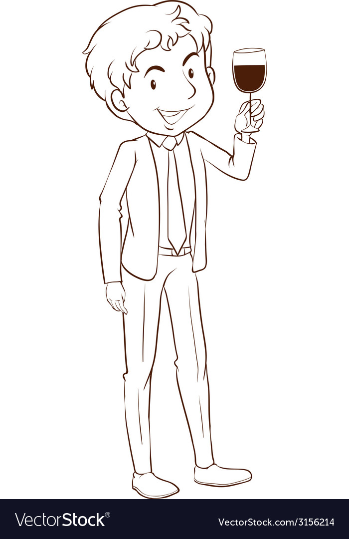 A plain sketch of a man wearing a formal dress vector