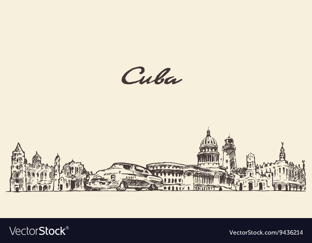 Cuba skyline hand drawn sketch vector