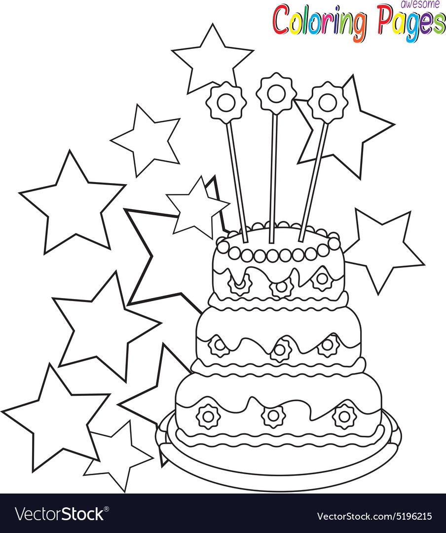 Coloringbookbirthdaycake vector