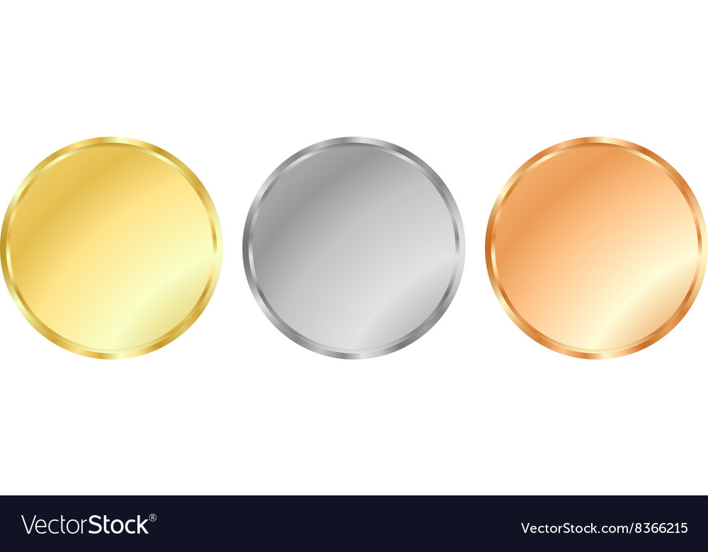 Simple template gold silver bronze medals for vector
