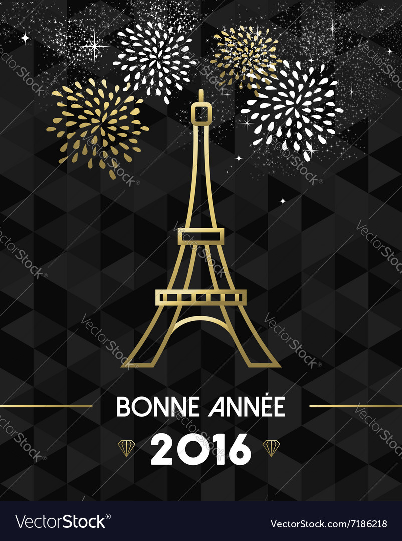 New year 2016 paris france travel eiffel gold vector