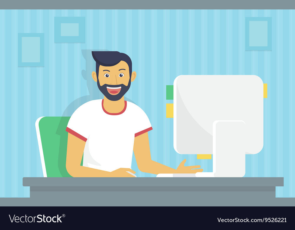 Man is working with computer vector