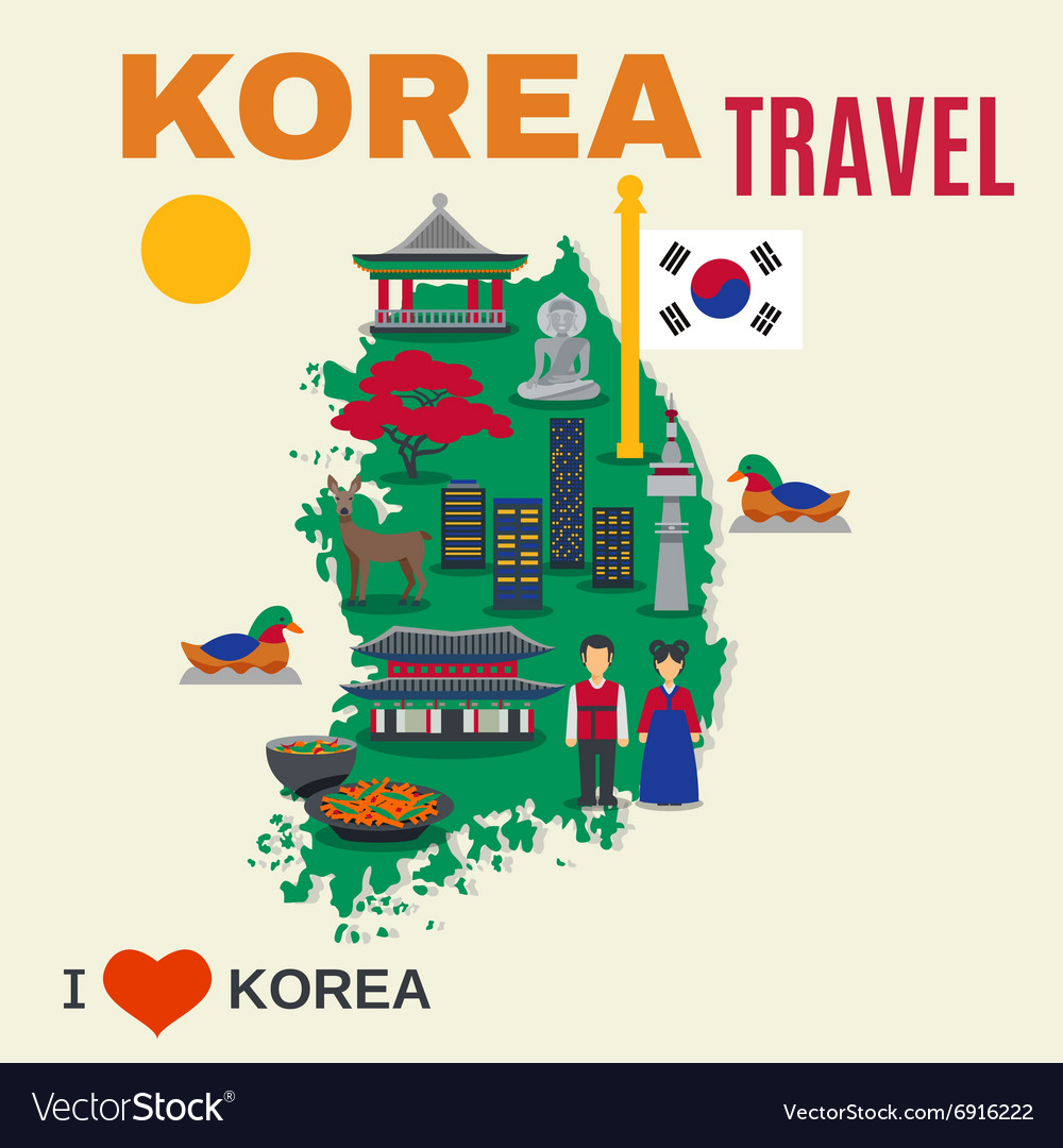 Korean culture symbols map travel poster vector