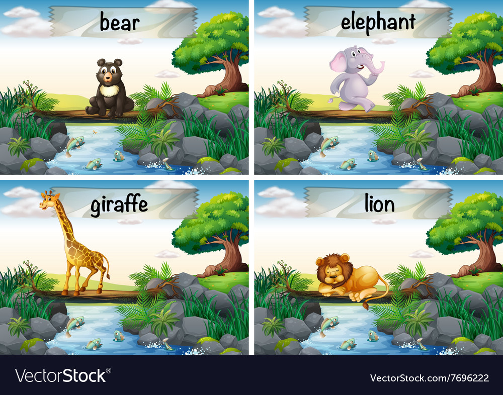 Wild animals standing of the bridge vector