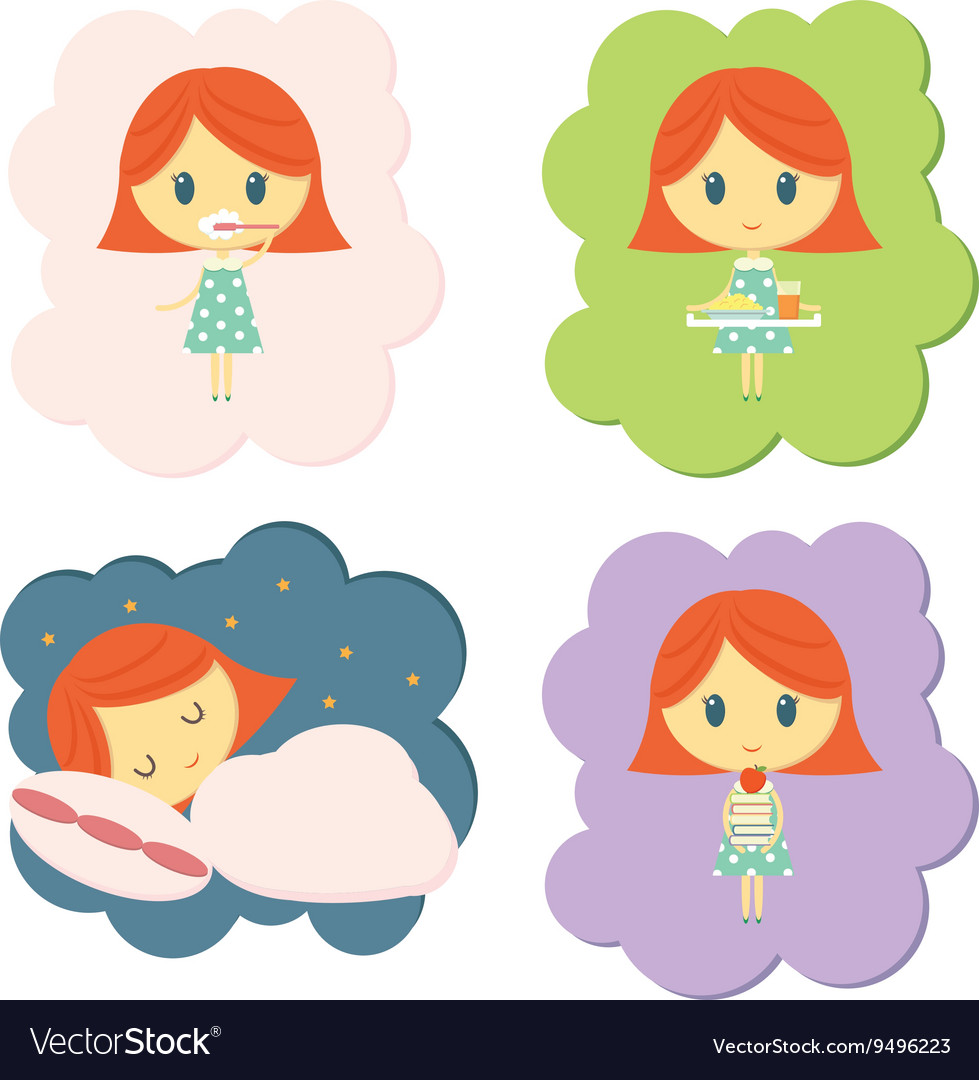 Girl daily routine vector