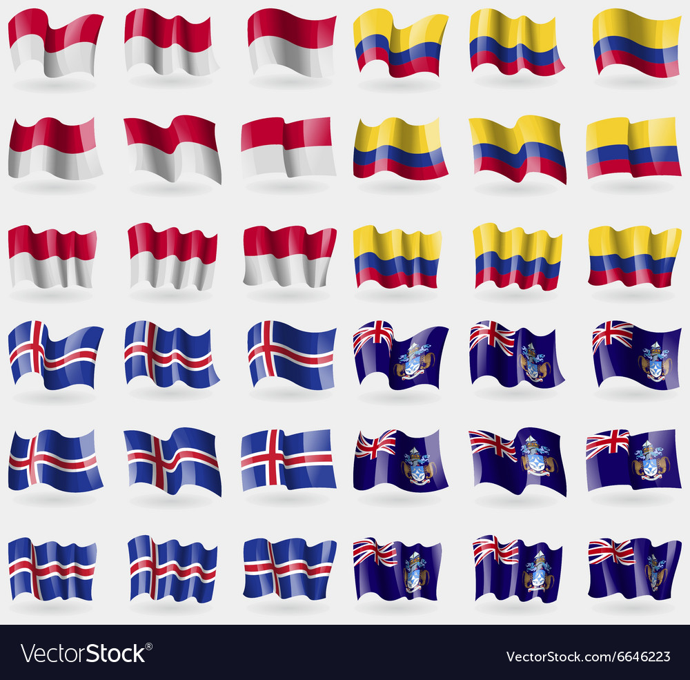 Indonesia colombia iceland tristan da cunha set of vector