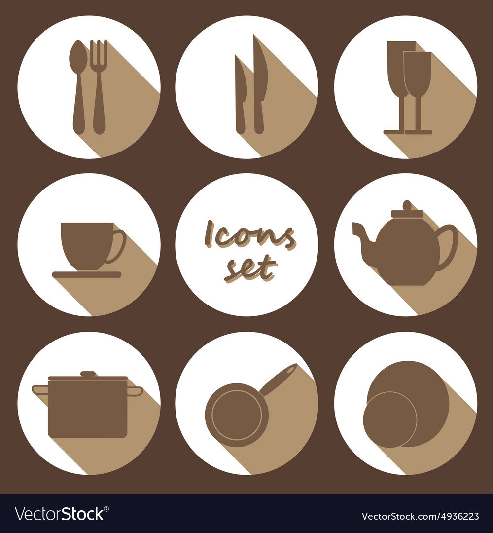 Round icons set of kitchen utensil in flat design vector