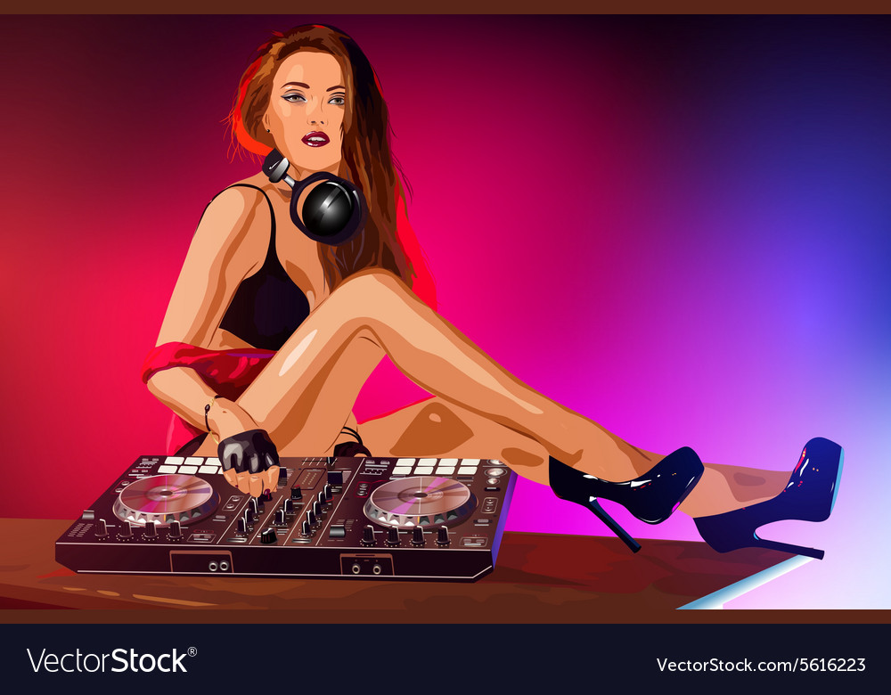 Young sexy woman dj vector