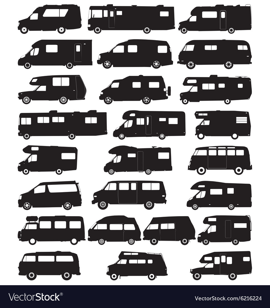 Motorhome silhouettes vector