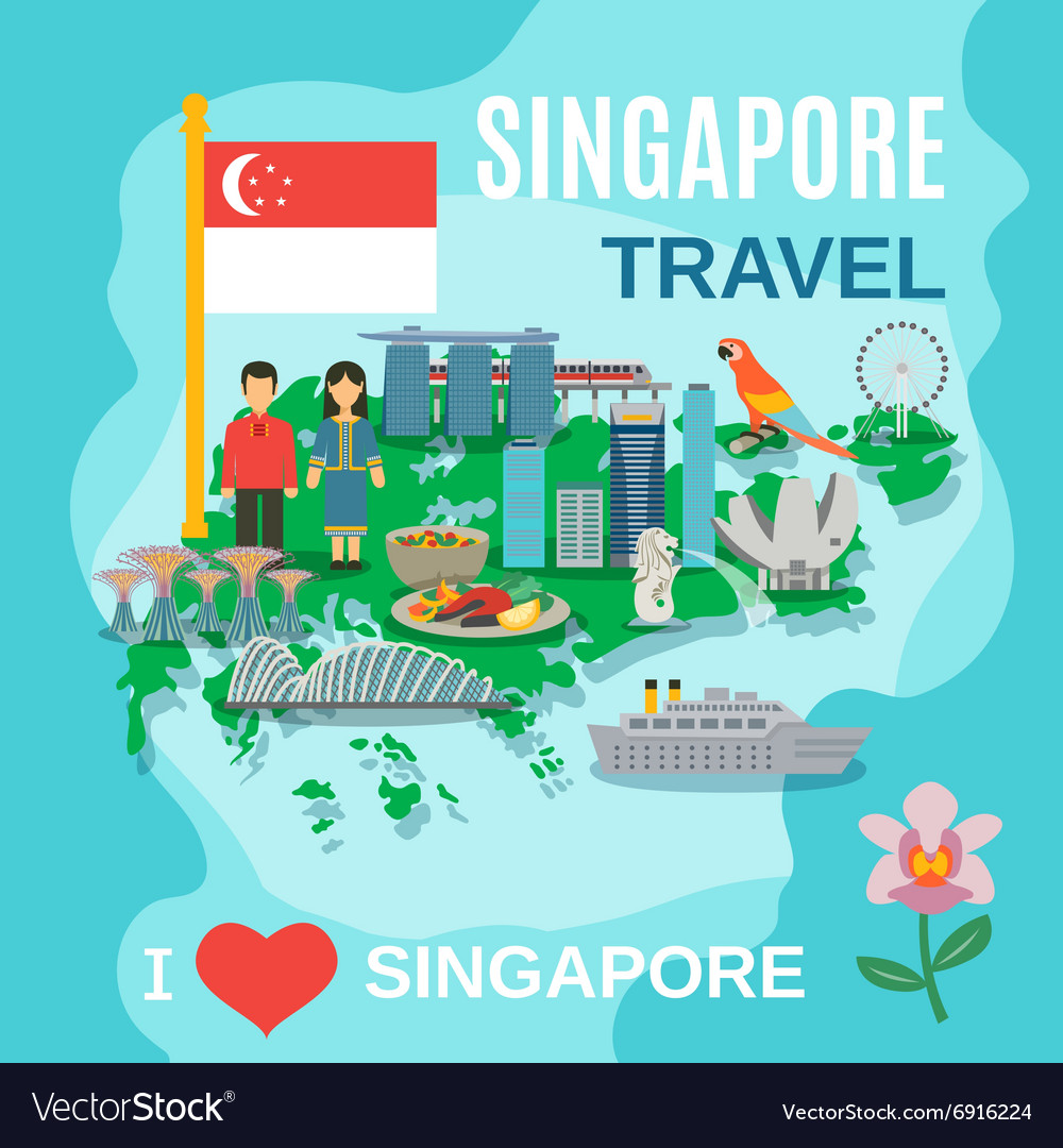 Singapore travel national symbols poster vector