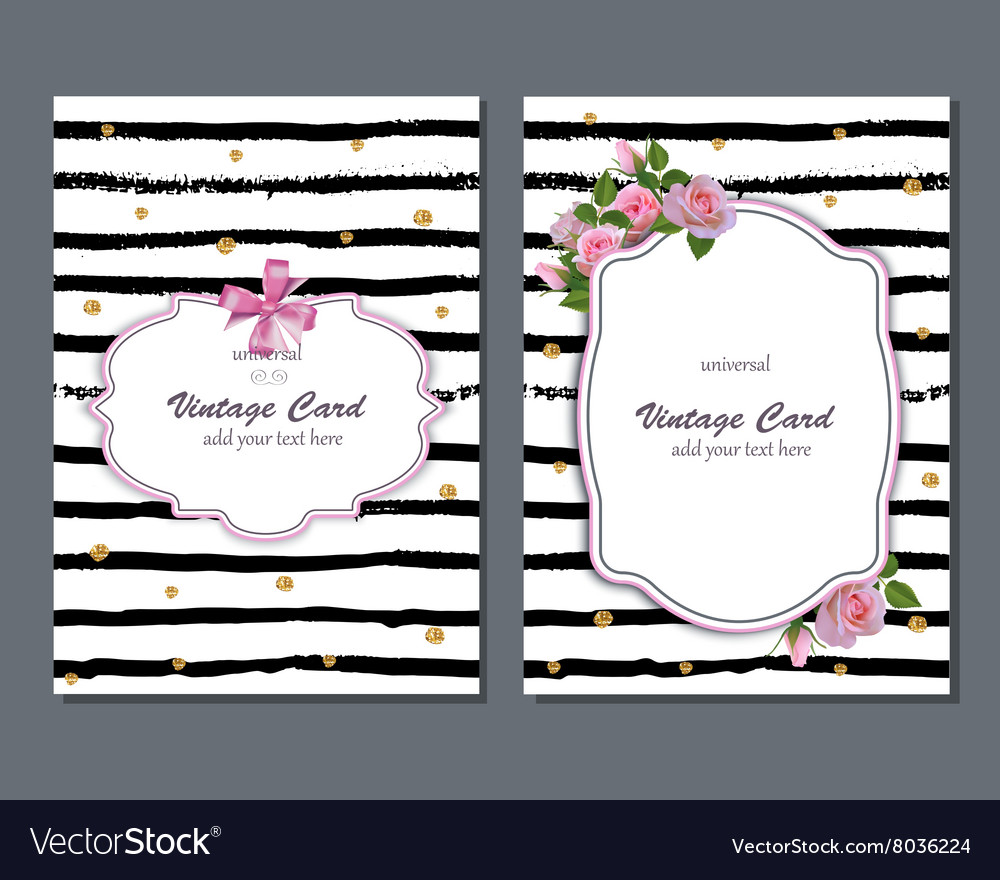 Universal romantic card template with pink vector