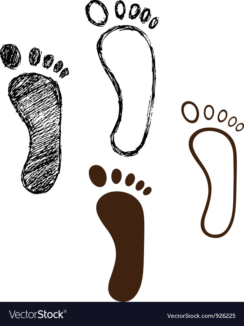 Black footprint vector