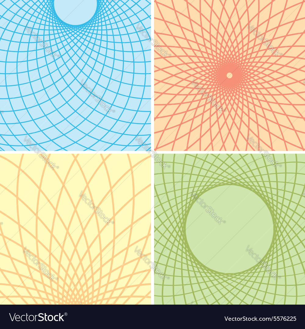 Color backgrounds with curved grids  set vector