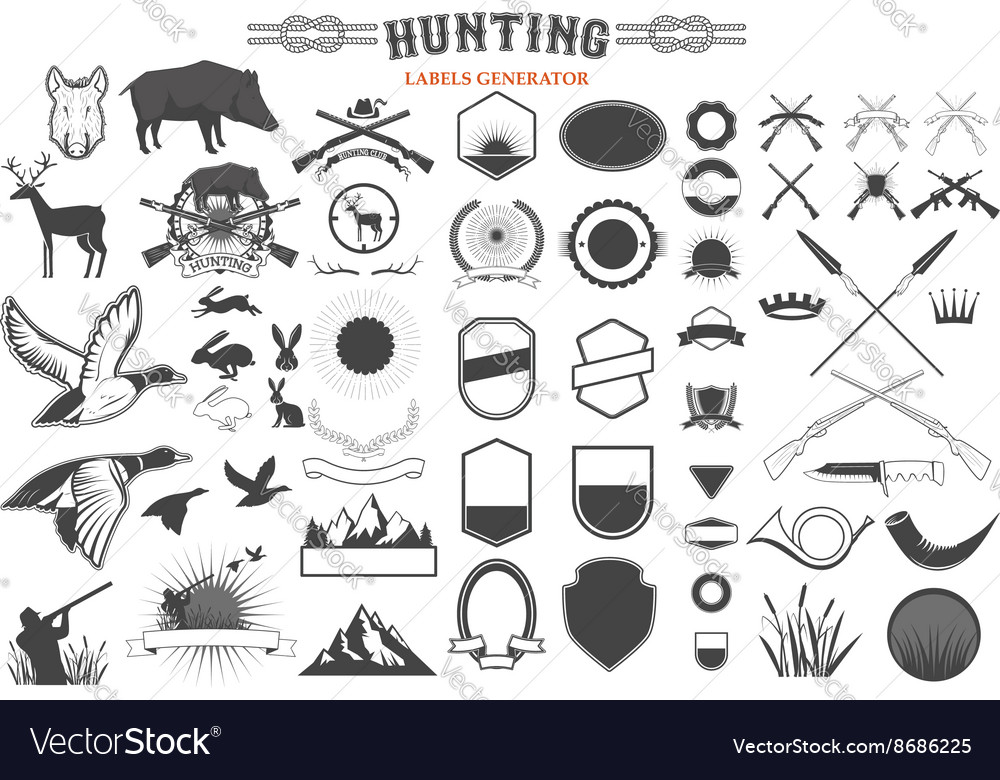 Hunting label renerator vector