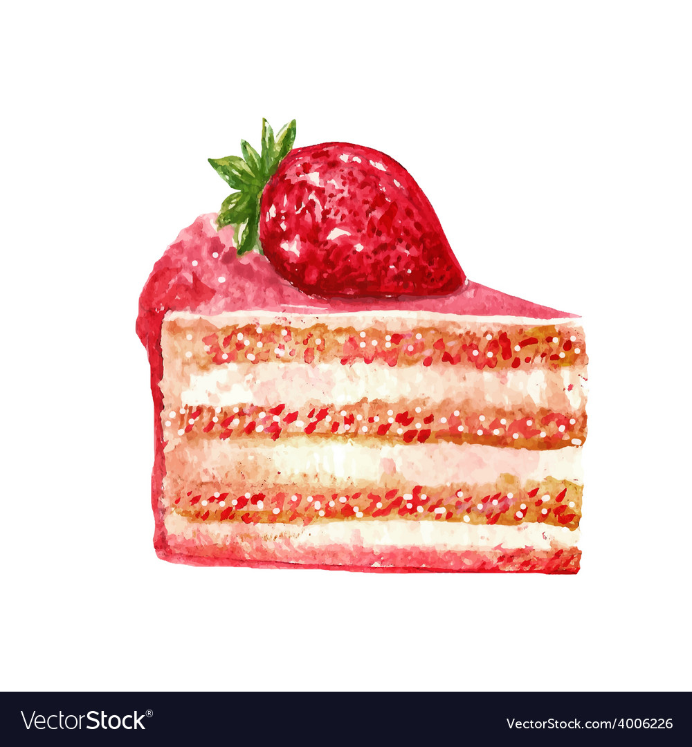 Hand drawn slice of cake watercolor style vector